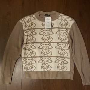 NWT fox print layering sweater